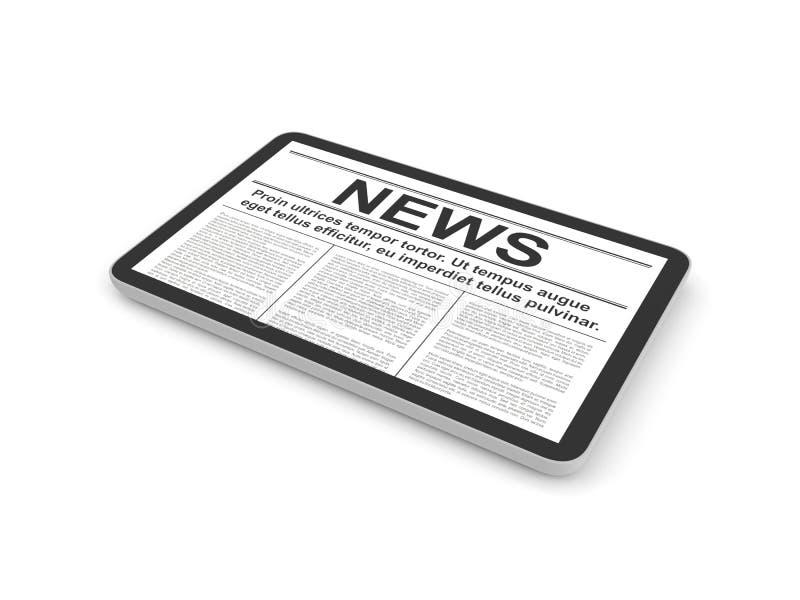 Ειδήσεις στο PC ταμπλετών, που απομονώνονται στο λευκό ελεύθερη απεικόνιση δικαιώματος