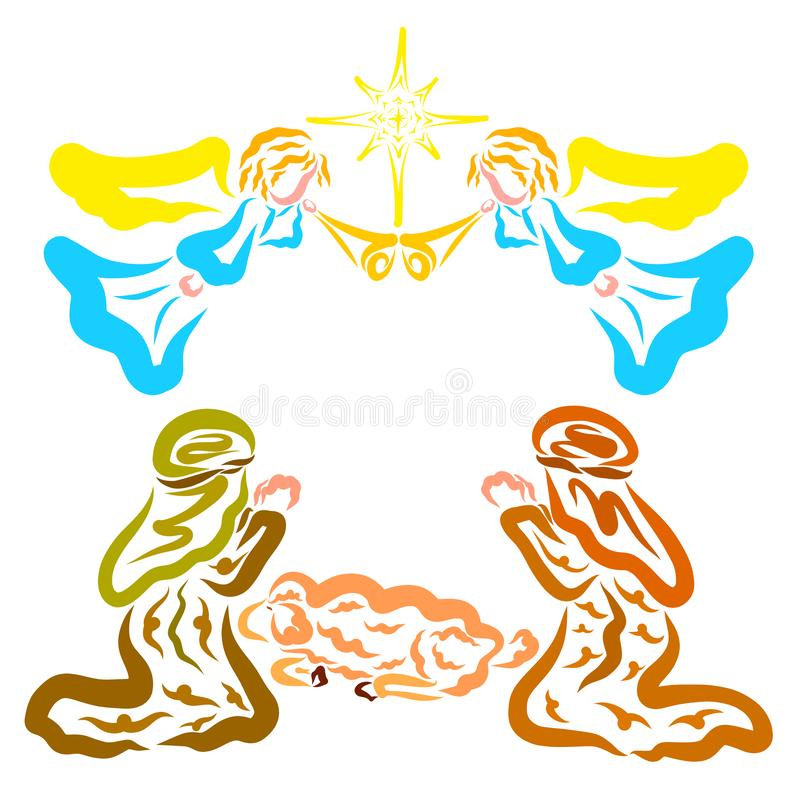Ειδήσεις της γέννησης του Savior, των ποιμένων και των αγγέλων διανυσματική απεικόνιση