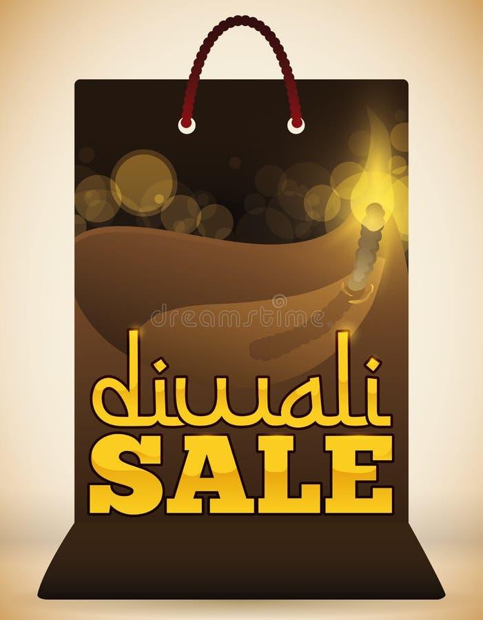 Ειδική έκδοση της τσάντας αγορών με το σχέδιο Diya για Diwali, διανυσματική απεικόνιση ελεύθερη απεικόνιση δικαιώματος