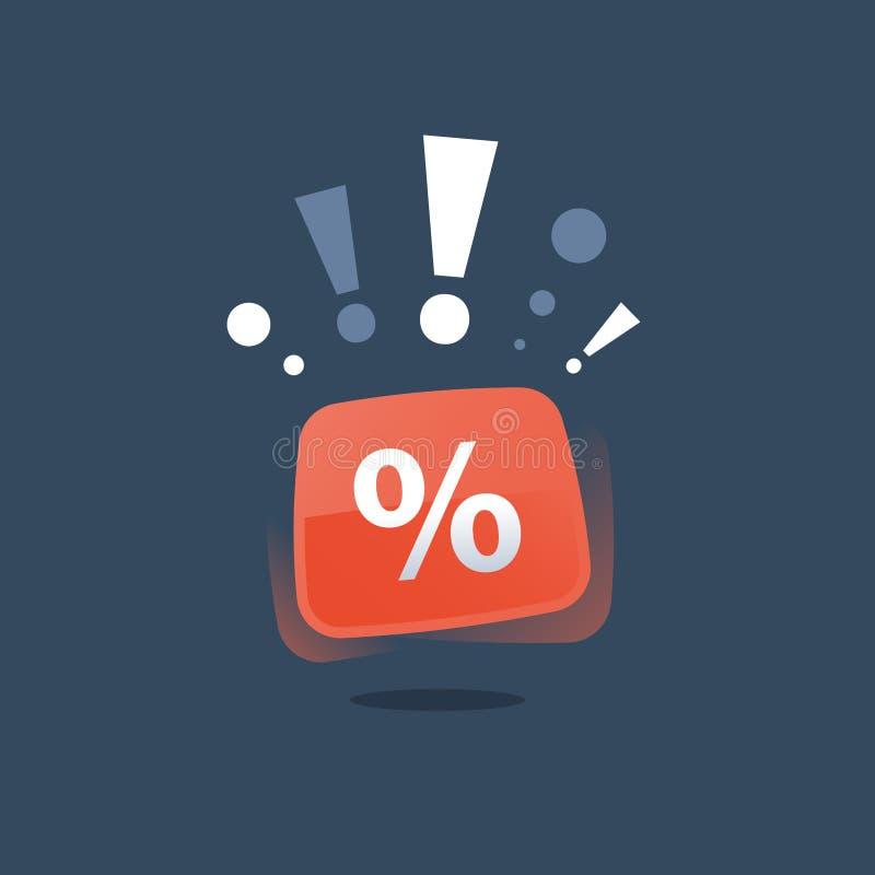 Ειδική ανακοίνωση προσφοράς, μεγάλη πώληση, κόκκινο κουμπί σημαδιών ποσοστού, κατάστημα έκπτωσης, χαμηλή τιμή εκκαθάρισης εποχής, διανυσματική απεικόνιση