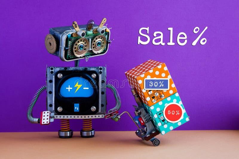 Ειδική αφίσα προώθησης πώλησης Κωμικά forklift ρομπότ υπηρεσιών παράδοσης κινούμενα κιβώτια με τις αυτοκόλλητες ετικέττες διαφήμι στοκ εικόνα με δικαίωμα ελεύθερης χρήσης