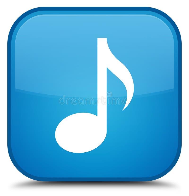 Ειδικό κυανό μπλε τετραγωνικό κουμπί εικονιδίων μουσικής απεικόνιση αποθεμάτων