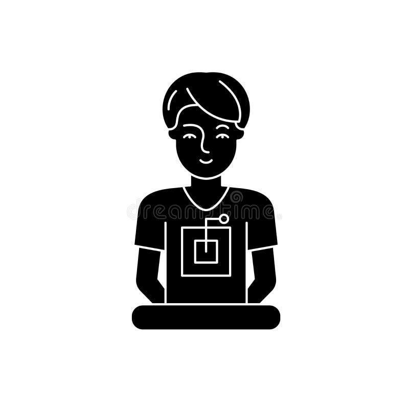 Ειδικό μαύρο εικονίδιο υπολογιστών, διανυσματικό σημάδι στο απομονωμένο υπόβαθρο Σύμβολο ειδικής έννοιας υπολογιστών, απεικόνιση διανυσματική απεικόνιση