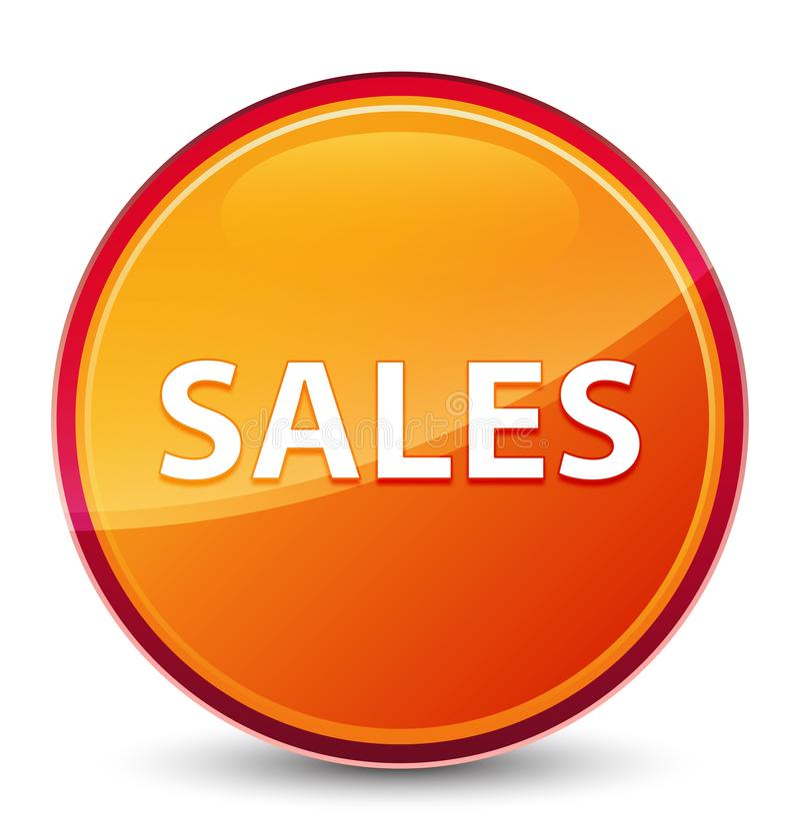 Ειδικό υαλώδες πορτοκαλί στρογγυλό κουμπί πωλήσεων στοκ εικόνα