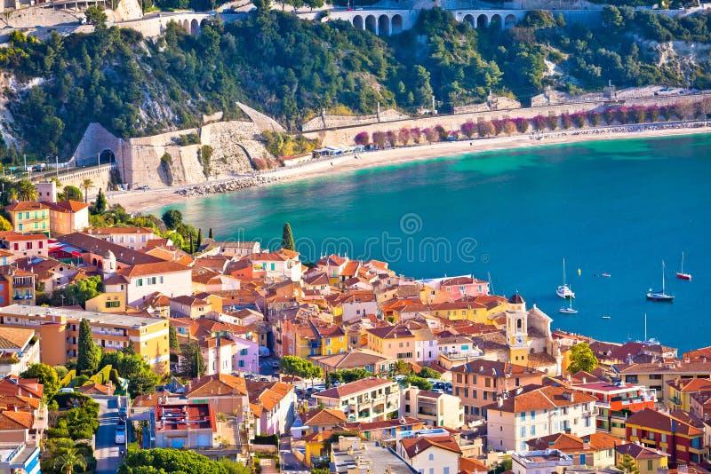 Ειδυλλιακή γαλλική άποψη πόλης εναέρια κόλπων riviera του Villefranche-sur-Mer στοκ φωτογραφία με δικαίωμα ελεύθερης χρήσης