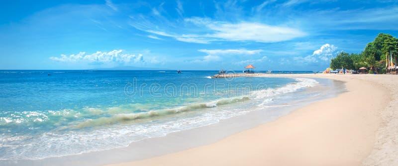 Ειδυλλιακή τροπική παραλία, φοίνικας, άσπρα άμμος και κρύσταλλο - καθαρίστε το νερό στοκ φωτογραφίες με δικαίωμα ελεύθερης χρήσης