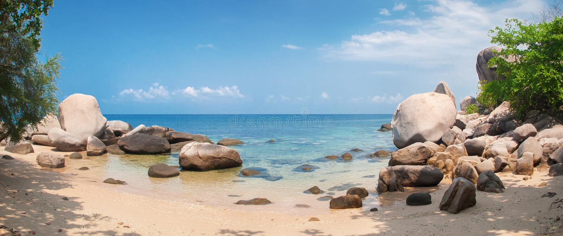 Ειδυλλιακή τροπική παραλία, φοίνικας, χρυσά άμμος και κρύσταλλο - καθαρίστε το νερό στοκ φωτογραφίες με δικαίωμα ελεύθερης χρήσης