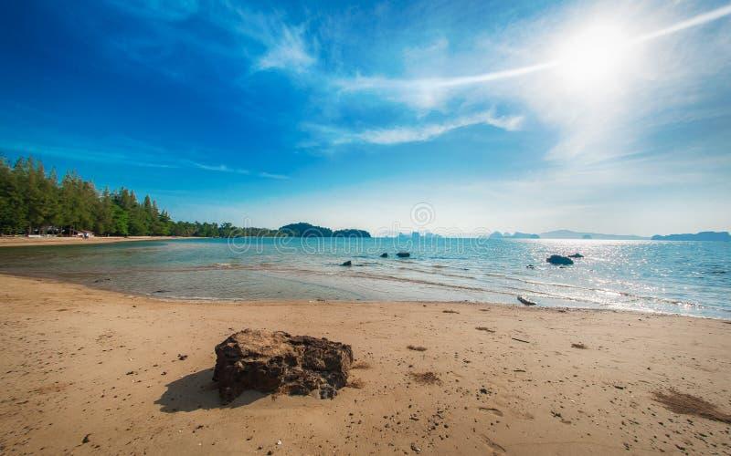 Ειδυλλιακή τροπική παραλία, φοίνικας, χρυσά άμμος και κρύσταλλο - καθαρίστε το νερό στοκ φωτογραφία με δικαίωμα ελεύθερης χρήσης