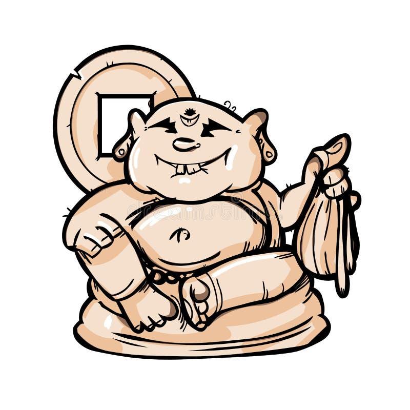 Ειδώλιο κινούμενων σχεδίων του βουδιστικού Θεού hotej διανυσματική απεικόνιση