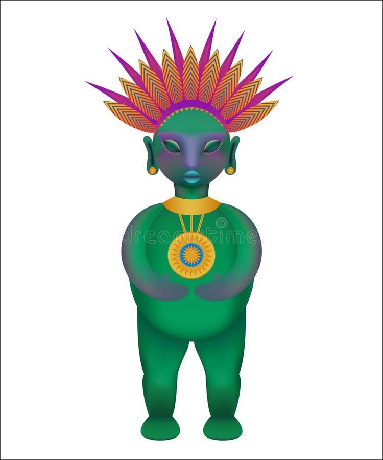 Ειδώλιο της αρχαίας των Μάγια φυλής, ύφος κινούμενων σχεδίων ελεύθερη απεικόνιση δικαιώματος