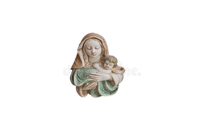 Ειδώλιο του Ιησού και της Μαρίας, χριστιανισμός θρησκείας, παλαιά κινηματογράφηση σε πρώτο πλάνο που απομονώνεται στοκ φωτογραφία