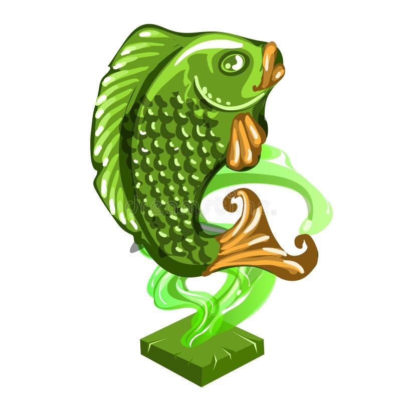 Ειδώλιο ψαριών φιαγμένο από νεφρίτη που απομονώνεται στο άσπρο υπόβαθρο Statuette του nephrite στο ασιατικό ύφος διάνυσμα διανυσματική απεικόνιση