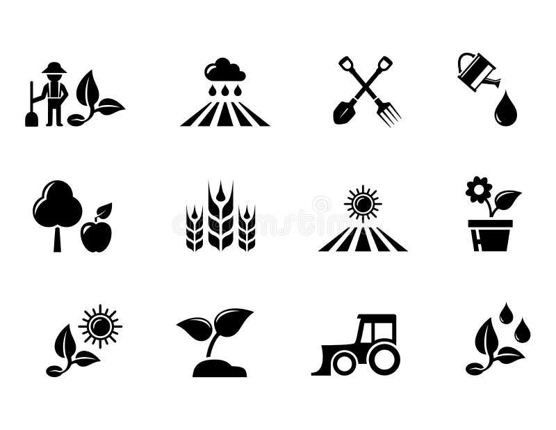 Εικονίδια έννοιας γεωργίας και δενδροκηποκομίας ή κηπουρικής καθορισμένα ελεύθερη απεικόνιση δικαιώματος