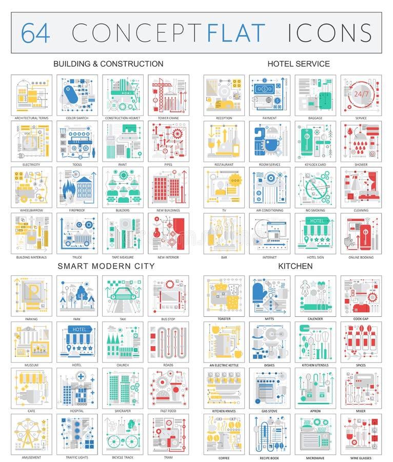 Εικονίδια έννοιας Infographics της οικοδόμησης κτηρίου, υπηρεσία ξενοδοχείων, σύγχρονη πόλη, εικονίδια κουζινών Διανυσματική εξαι ελεύθερη απεικόνιση δικαιώματος
