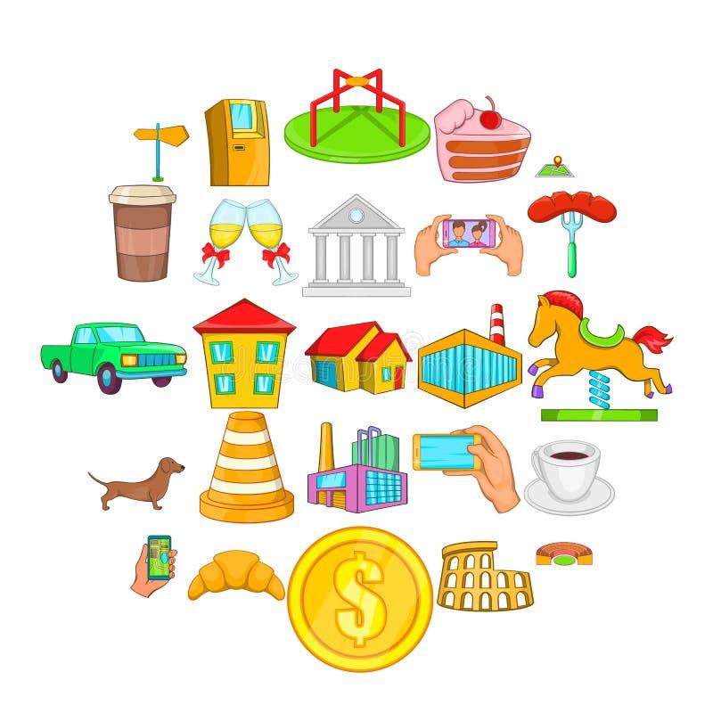 Εικονίδια αγοράς καθορισμένα, ύφος κινούμενων σχεδίων απεικόνιση αποθεμάτων