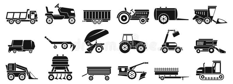 Εικονίδια αγροτικών γεωργικά μηχανών καθορισμένα, απλό ύφος διανυσματική απεικόνιση