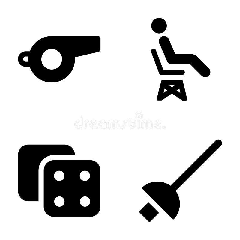 Εικονίδια αθλητικού Glyph διανυσματική απεικόνιση