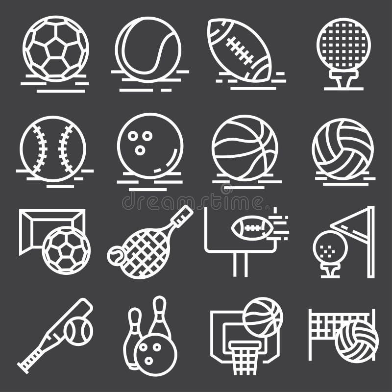 Εικονίδια αθλητικών σφαιρών που τίθενται στο γκρίζο υπόβαθρο διάνυσμα διανυσματική απεικόνιση
