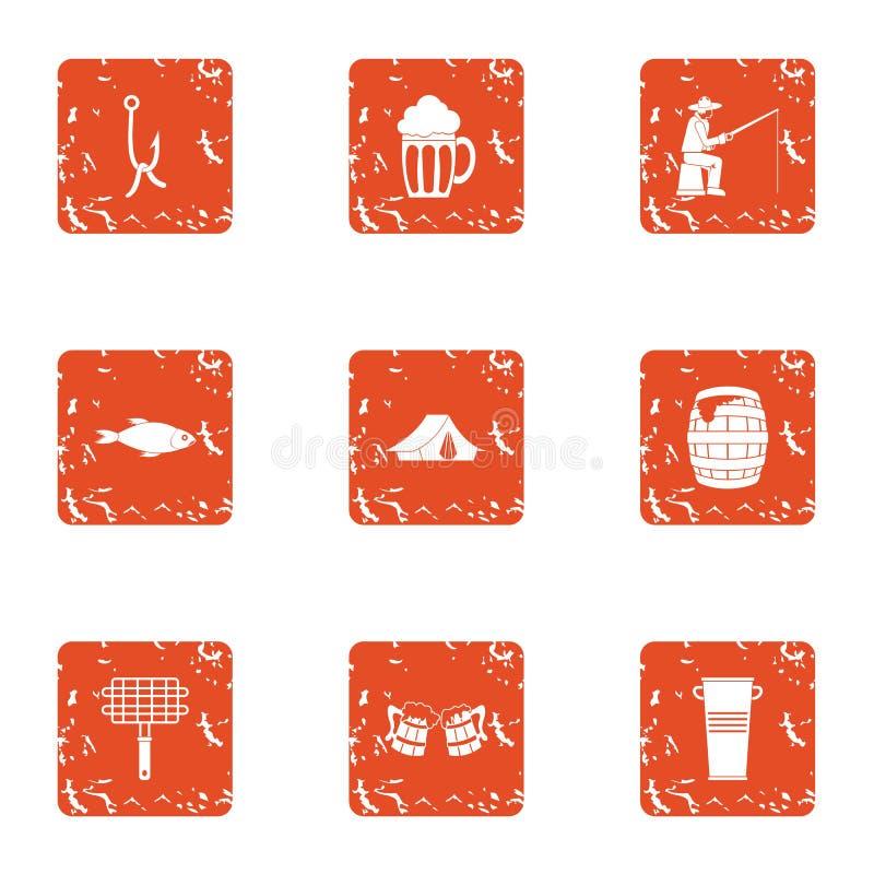 Εικονίδια αλιειών καθορισμένα, grunge ύφος διανυσματική απεικόνιση