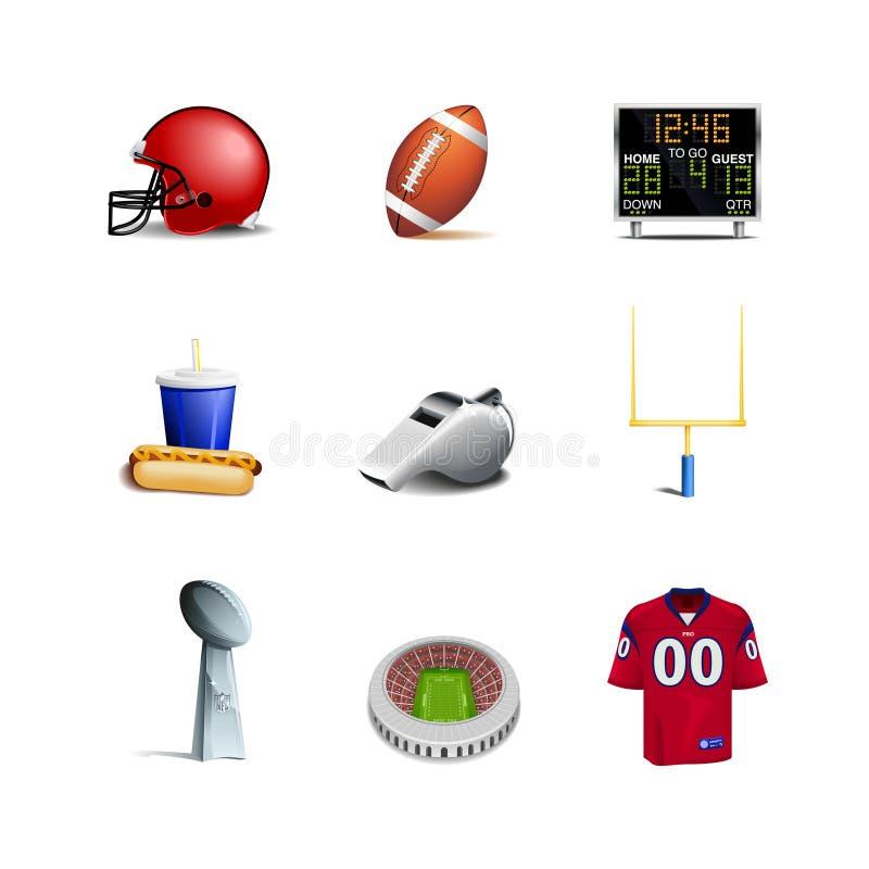 Εικονίδια αμερικανικού ποδοσφαίρου διανυσματική απεικόνιση