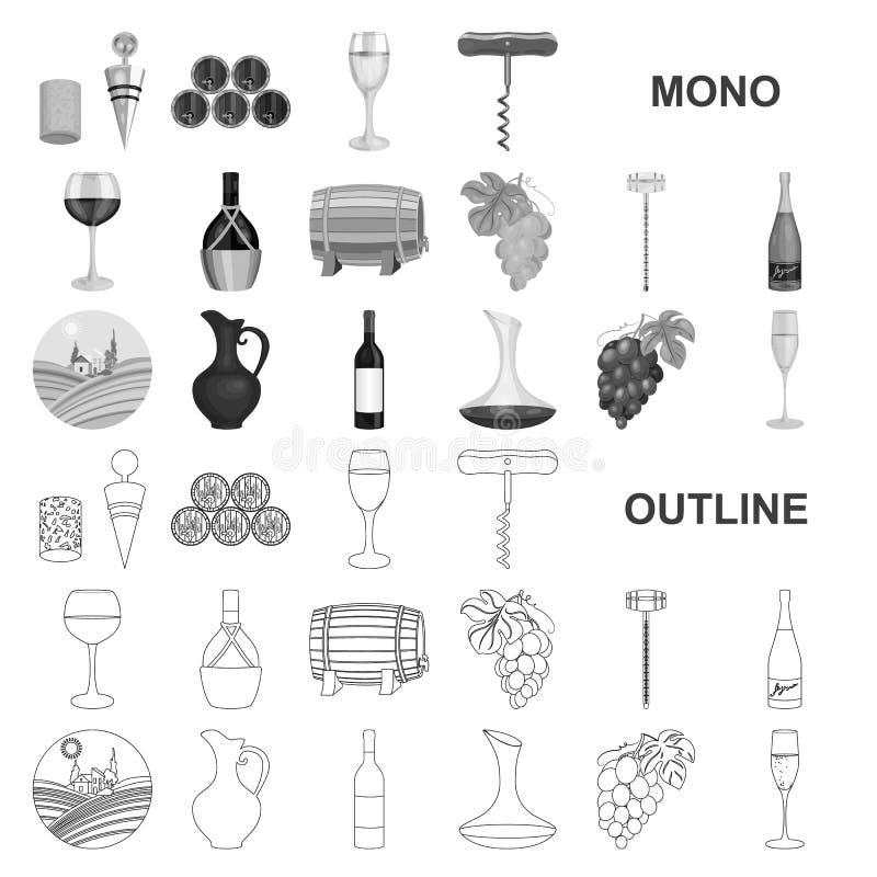 Εικονίδια αμπελοοινικών προϊόντων monochrom στην καθορισμένη συλλογή για το σχέδιο Εξοπλισμός και παραγωγή του διανυσματικού Ιστο ελεύθερη απεικόνιση δικαιώματος