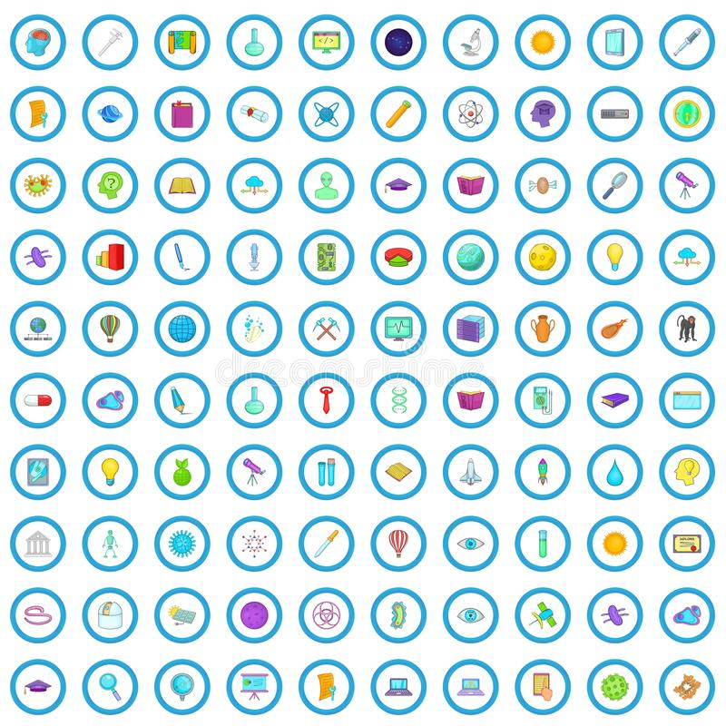 100 εικονίδια ανάπτυξης καθορισμένα, ύφος κινούμενων σχεδίων απεικόνιση αποθεμάτων
