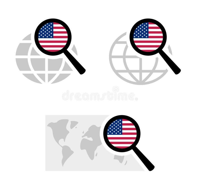 Εικονίδια αναζήτησης με την αμερικανική σημαία ελεύθερη απεικόνιση δικαιώματος