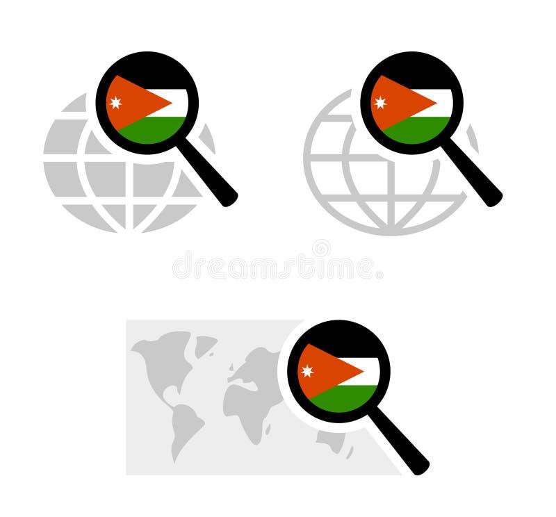 Εικονίδια αναζήτησης με την ιορδανική σημαία διανυσματική απεικόνιση