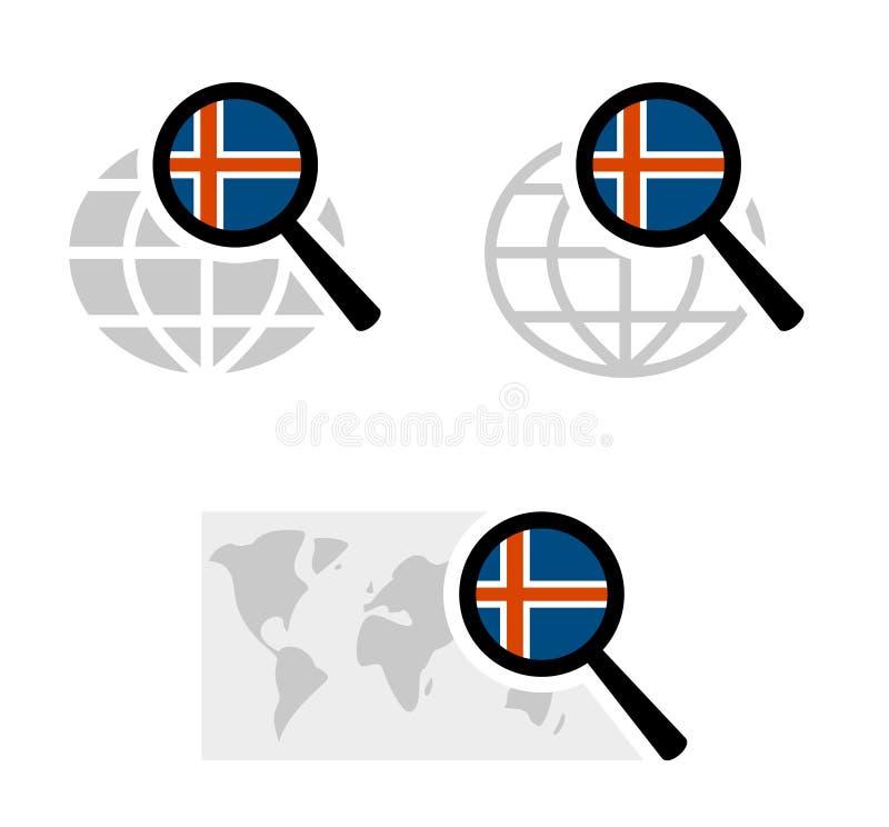 Εικονίδια αναζήτησης με την ισλανδική σημαία διανυσματική απεικόνιση