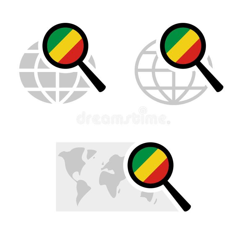 Εικονίδια αναζήτησης με την κογκολέζικη σημαία διανυσματική απεικόνιση