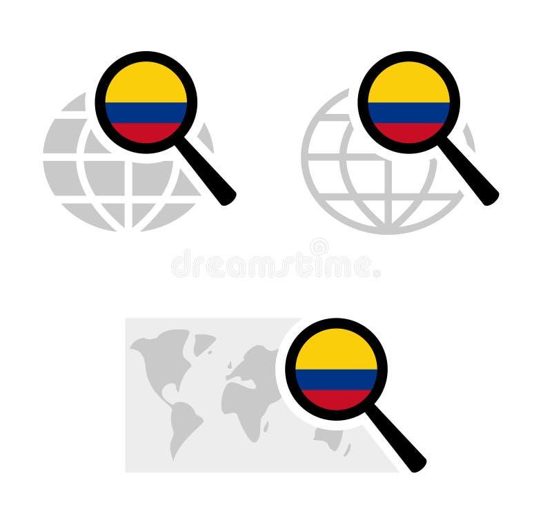 Εικονίδια αναζήτησης με την κολομβιανή σημαία διανυσματική απεικόνιση