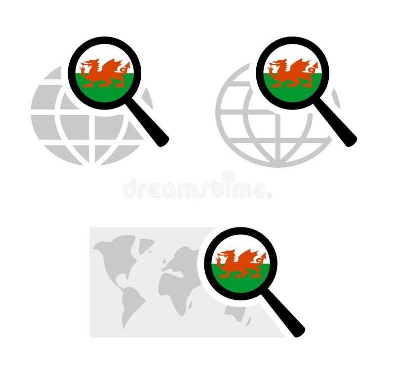 Εικονίδια αναζήτησης με την ουαλλέζικη σημαία διανυσματική απεικόνιση