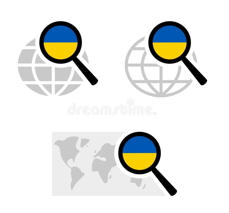 Εικονίδια αναζήτησης με την ουκρανική σημαία απεικόνιση αποθεμάτων