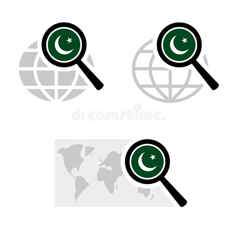 Εικονίδια αναζήτησης με την πακιστανική σημαία ελεύθερη απεικόνιση δικαιώματος