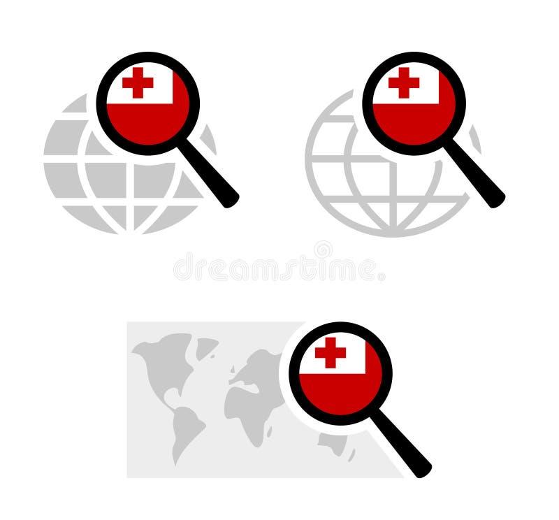 Εικονίδια αναζήτησης με την των νήσων Τόγκα σημαία διανυσματική απεικόνιση