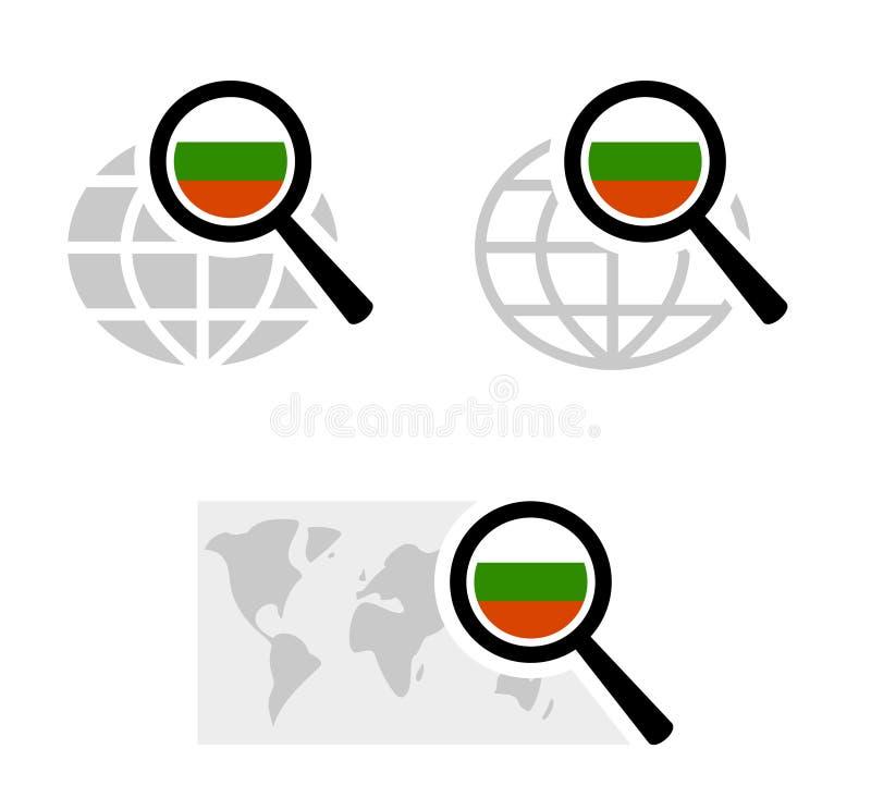 Εικονίδια αναζήτησης με τη βουλγαρική σημαία ελεύθερη απεικόνιση δικαιώματος