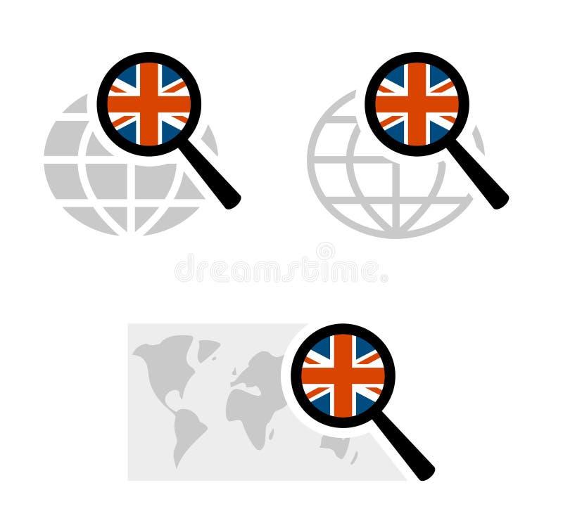 Εικονίδια αναζήτησης με τη βρετανική σημαία διανυσματική απεικόνιση