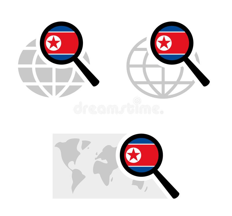 Εικονίδια αναζήτησης με τη βόρεια κορεατική σημαία διανυσματική απεικόνιση