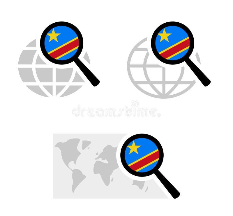 Εικονίδια αναζήτησης με τη λαϊκή δημοκρατία της σημαίας του Κογκό απεικόνιση αποθεμάτων