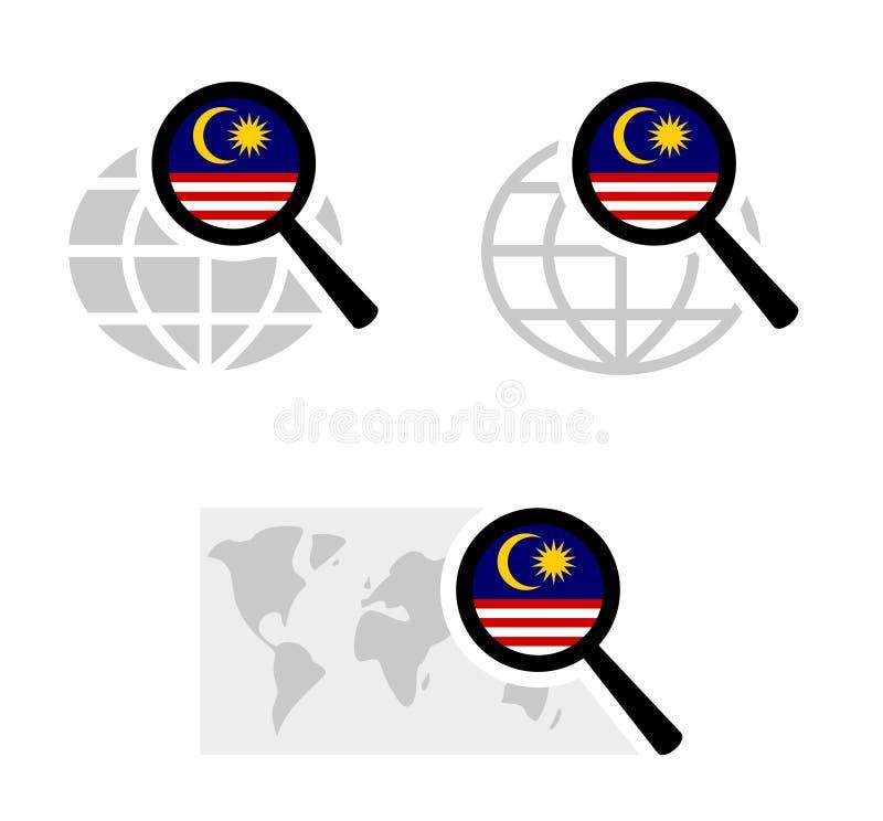 Εικονίδια αναζήτησης με τη μαλαισιανή σημαία διανυσματική απεικόνιση