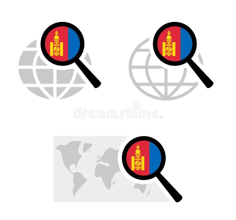 Εικονίδια αναζήτησης με τη μογγολική σημαία ελεύθερη απεικόνιση δικαιώματος