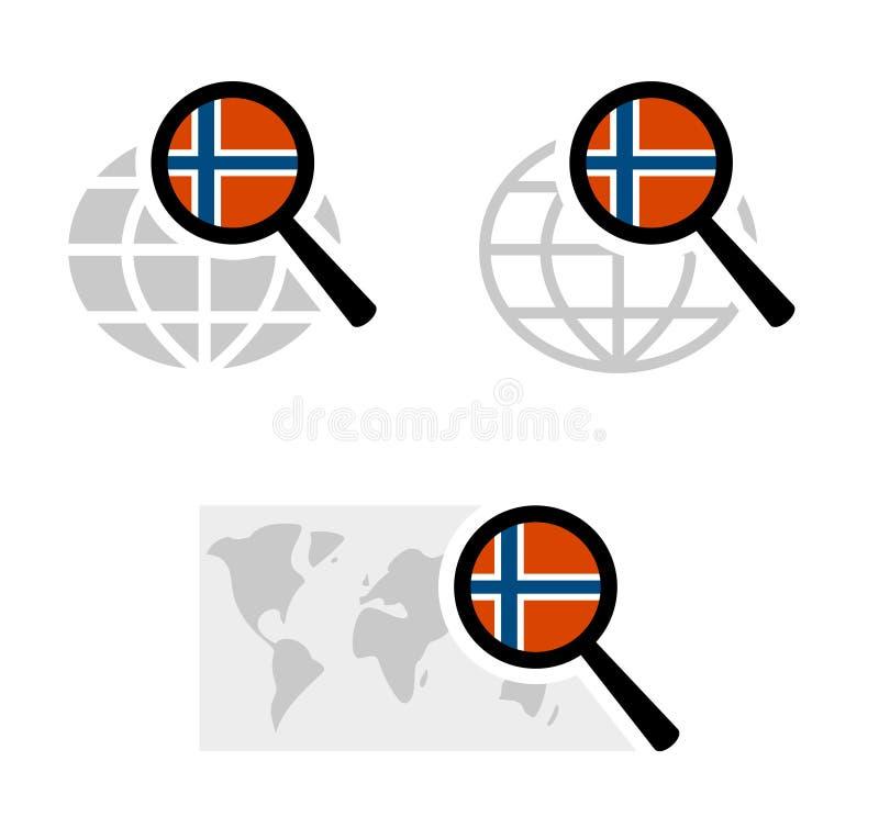Εικονίδια αναζήτησης με τη νορβηγική σημαία διανυσματική απεικόνιση
