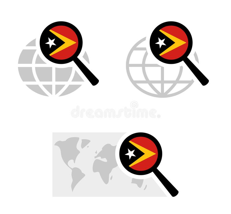 Εικονίδια αναζήτησης με τη σημαία ανατολικού Timor απεικόνιση αποθεμάτων