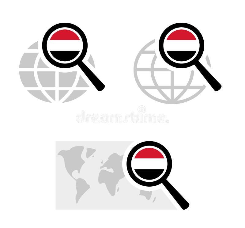 Εικονίδια αναζήτησης με τη σημαία Γιεμενιτών διανυσματική απεικόνιση