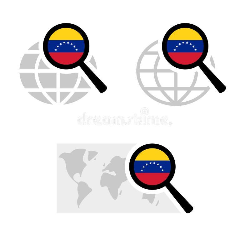 Εικονίδια αναζήτησης με τη σημαία της Βενεζουέλας απεικόνιση αποθεμάτων