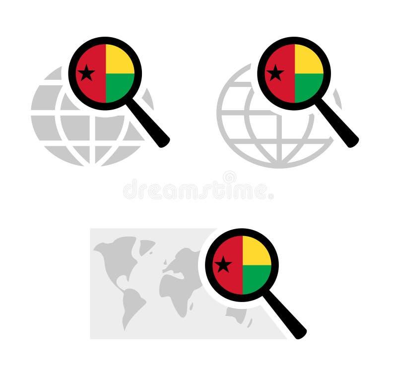 Εικονίδια αναζήτησης με τη σημαία της Γουινέα-Μπισσάου απεικόνιση αποθεμάτων