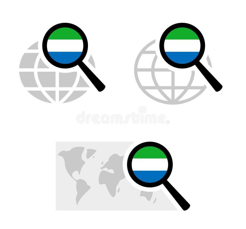 Εικονίδια αναζήτησης με τη σημαία της Σιέρα Λεόνε ελεύθερη απεικόνιση δικαιώματος