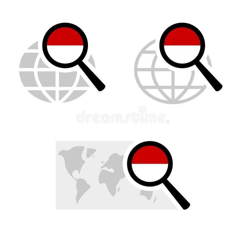 Εικονίδια αναζήτησης με τη σημαία του Μονακό απεικόνιση αποθεμάτων