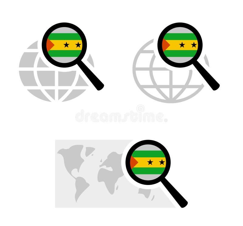 Εικονίδια αναζήτησης με τη σημαία του Σάο Τομέ και Πρίντσιπε διανυσματική απεικόνιση