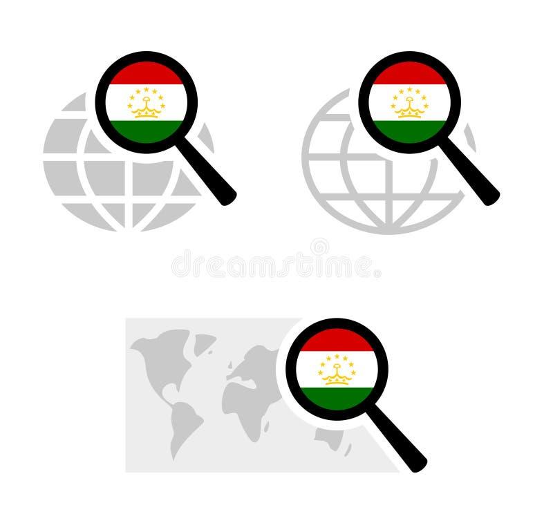 Εικονίδια αναζήτησης με τη σημαία του Τατζικιστάν διανυσματική απεικόνιση